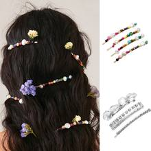 Women Luxury Jewelry One Word Hairpins Imitation Diamond Colorful Handmade Beading Hair Clip Decorative Hair Styling Accessories(China)
