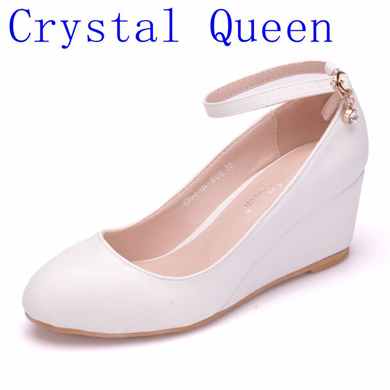 Crystal Queen Women's High Heels Pumps Sexy Bride Party Thick Heel Round 5CM  Wedges High Heel Dress Shoes Platform Lady Eveing