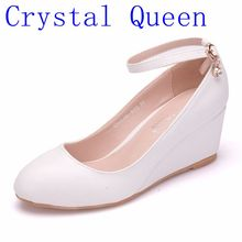 Crystal Queen Womens High Heels Pumps Sexy Bride Party Thick Heel Round 5CM  Wedges High Heel Dress Shoes Platform Lady Eveing