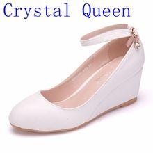 คริสตัล Queen ผู้หญิงส้นสูงปั๊มเซ็กซี่เจ้าสาวปาร์ตี้ส้นสูงหนารอบ 5 เซนติเมตร Wedges รองเท้าส้นสูงรองเท้าแพลตฟอร์ม Lady วันวาเลนไทน์