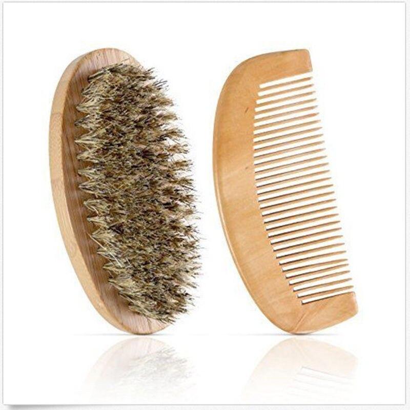 New Hot Sale Boar Bristle Beard Brush and Handmade Beard Comb Kit for Men Beard Mustache  1