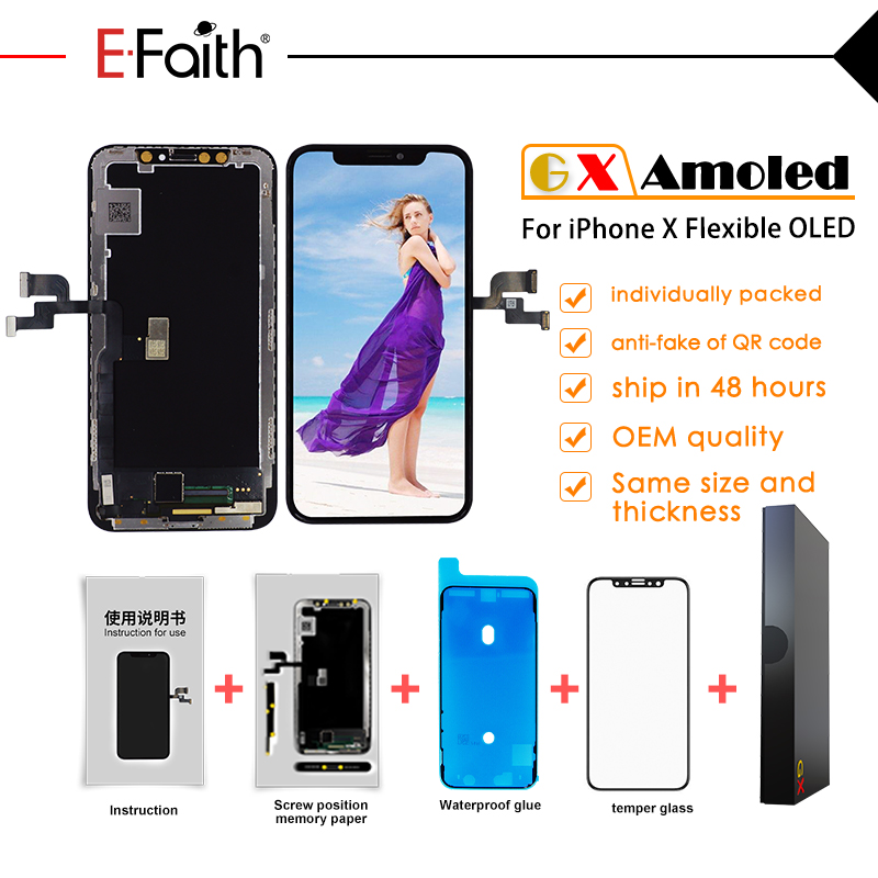 EFaith 2pcs lot OEM GX AMOLED Quality LCD or Display for iPhone X OLED Touch Screen