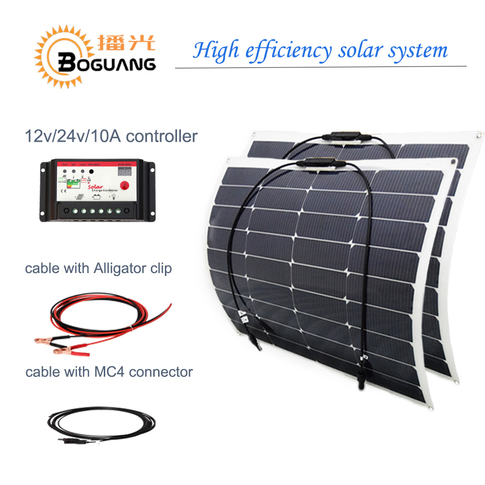 BOGUANG 50w semi flexible solar panel 100w solar system efficient cell 12v 24v 10A controller cable MC4 connector DIY kit charge 3 100w flexible solar panel efficient
