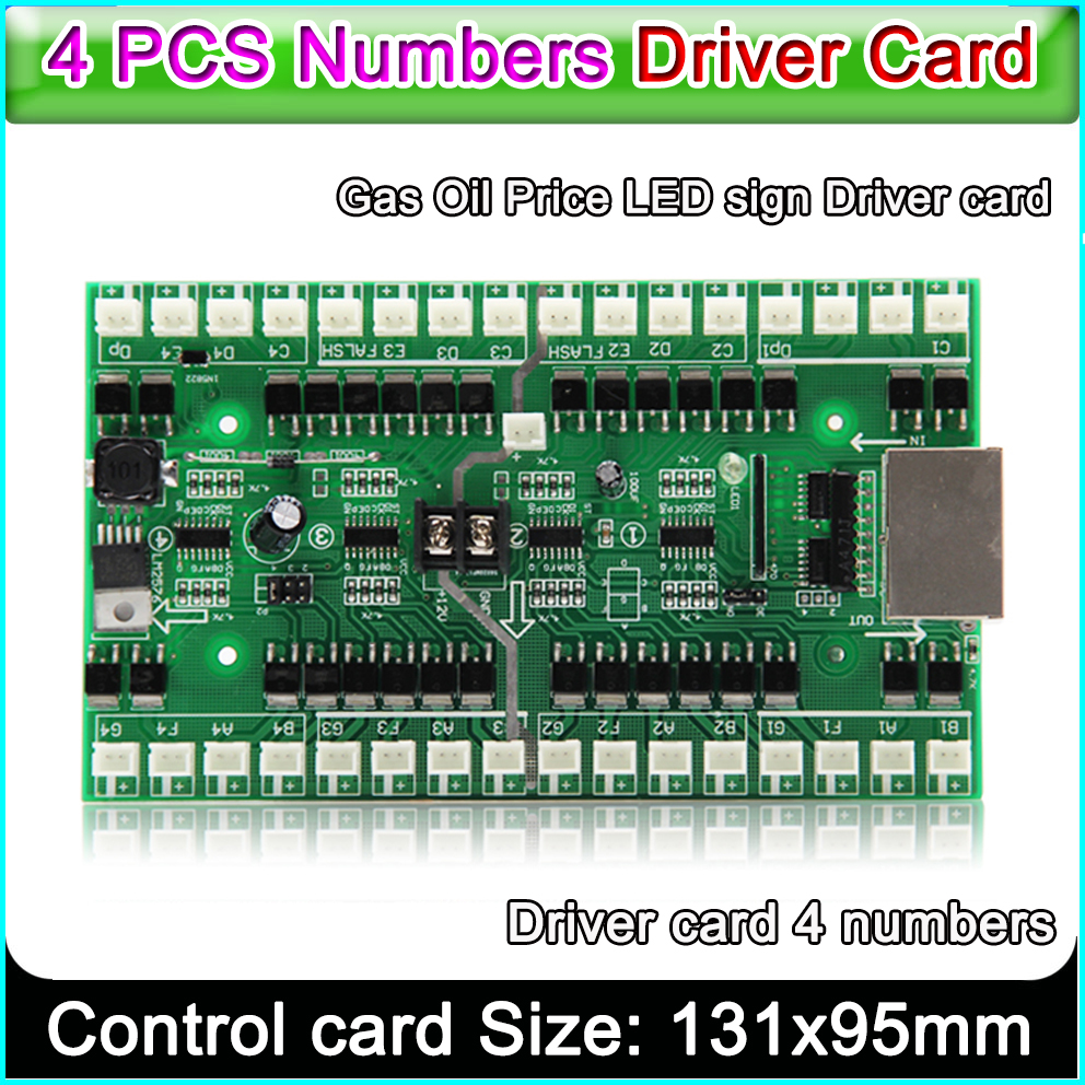 Driver card 6 to 15 inch led digital number board four pcs numbers driver card used for Oil Station