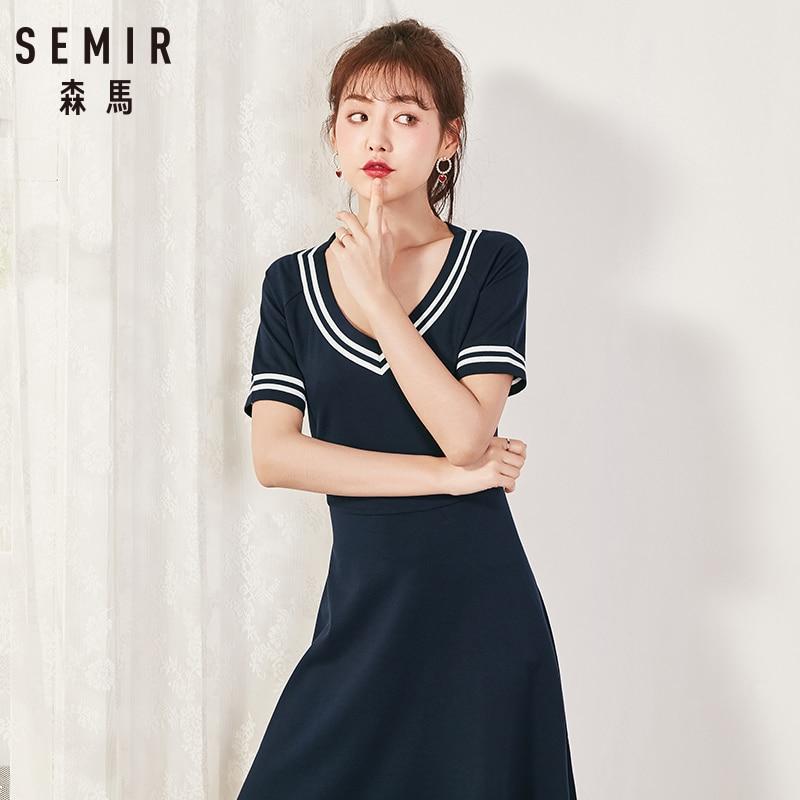 Semir 2018 Summer New Dress Female Slim V-neck Waist Temperament Dress Student Hit Color Pleated Lady Dress For Women 2