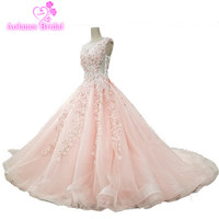 2018 Long Pink Prom Dresses Sleeveless Floor Length Court Train Ball Gown Tulle Illusion Evening Party