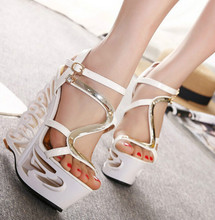 Korean version of the summer was thin super high heel wedge sandals 16cm high nightclub sexy hollow Roman sandals women