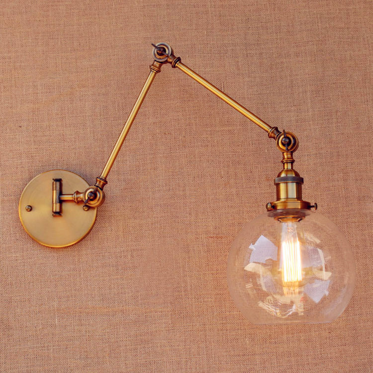 RH Loft Vintage Wall Lamp Glass Swing Long Arm Wall Light Fixtures LED Edison Industrial Wall Lights Appliques Muralces Sconces loft vintage edison glass light ceiling lamp cafe dining bar club aisle t300