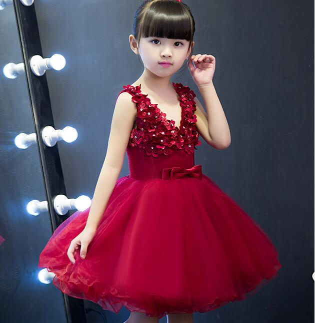Princess red Tulle Lace Tutu Ball Gown Flower Girl Dresses 2017 Girls First Communion Birthday Dresses vestido de daminha princess ball gown red lace flower girls dresses for weddings birthday communion kids stage performance