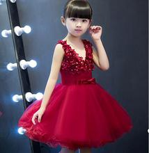 Princess red Tulle Lace Tutu Ball Gown Flower Girl Dresses 2017 Girls First Communion Birthday Dresses vestido de daminha