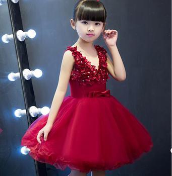 Princess red Tulle Lace Tutu Ball Gown Flower Girl Dresses 2017 Girls First Communion Birthday Dresses vestido de daminha