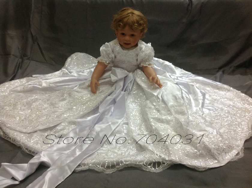 Vintage Christening Gown White Silk