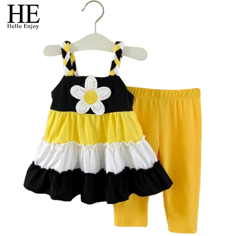 HE Hello Enjoy girls clothes summer children clothing sleeveless yellow floral Condole belt tops+pant suit kids girls set outfit