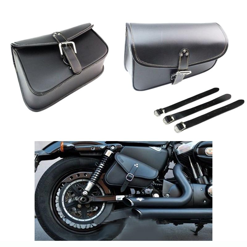 Black Right Side Motorcycle Leather Saddle Bag FOR Harley Davidson Sportster  Harley-Davidson Sportster