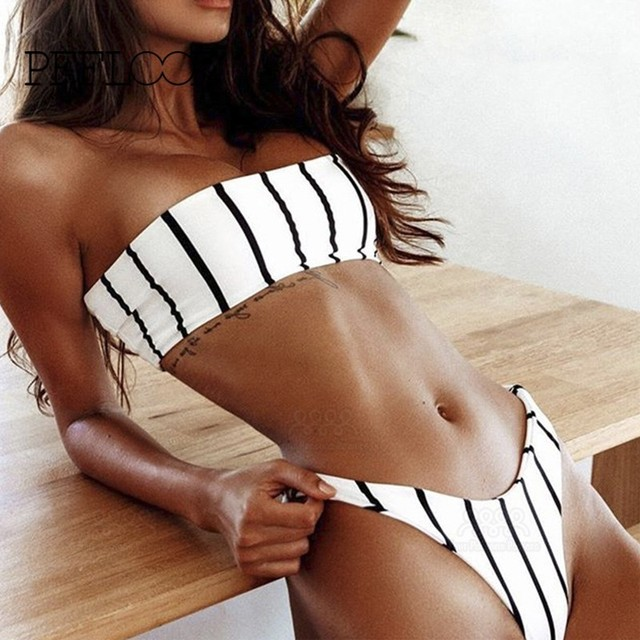 14adb9f5516 Best Price PFFLOOK Summer Beachwear Swimwear Women Bikini 2018 New Sexy  Black White Stripe Strapless Swimsuit Two Pieces Bathing Biquini