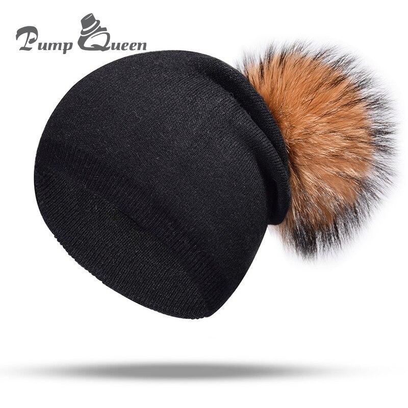 0217cde1e1b Pump Queen Wool Winter Hat Women Real Raccoon Fur Pom Pom Beanies Winter  Warm Wool With