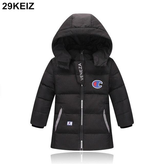 d9b16e274 29KEIZ Thicken Children Boys Winter Coat Black Hooded Baby Girls 80 ...