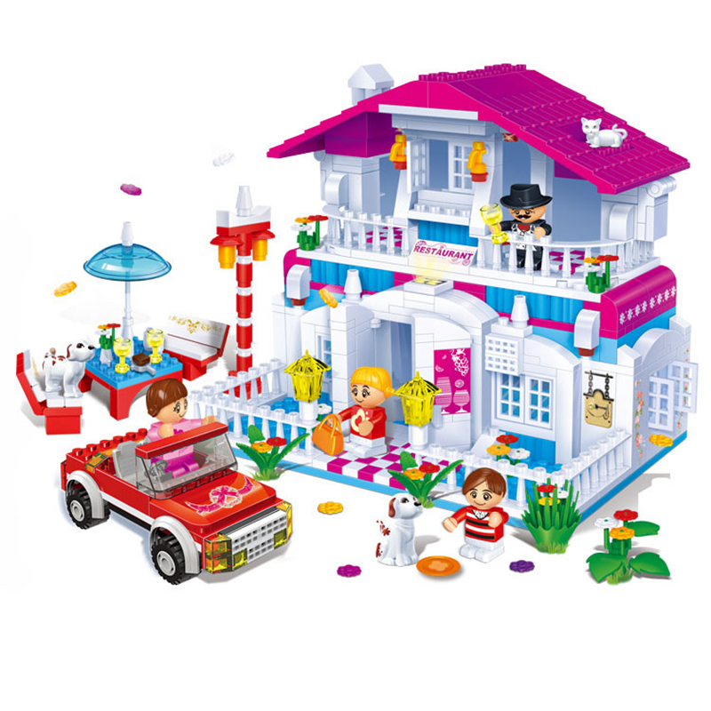 Building Blocks Assembled Enlightenment Restaurant Happy Girl Child Miniature Toy Small Particles Inserted Model Garden puzzle toy building blocks assembled fight inserted toys