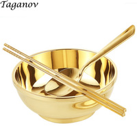 5.5 inch 3 piece set chopstic ks bowl spoo n Dinnerware copper cutlery gold set Traditional Chinese dinner sets china home gifts