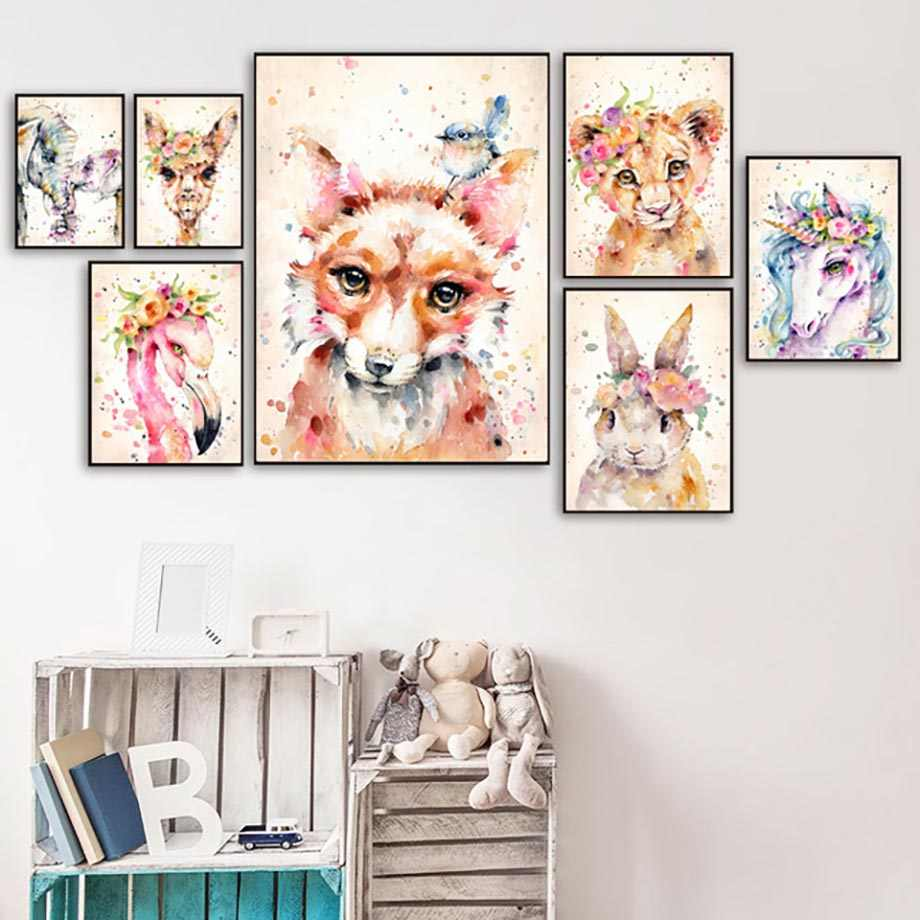 Canvas Pictures Home Decor Painting Wall Art Rabbit Fox Flamingo Prints Creative Watercolor Nordic Poster Modular Living Room