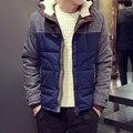 Nuevo 2017 botón de la bocina masculino wadded chaqueta con a capucha engrosamiento térmica de algodón acolchado chaqueta de invierno los hombres chaqueta hombre/mf9