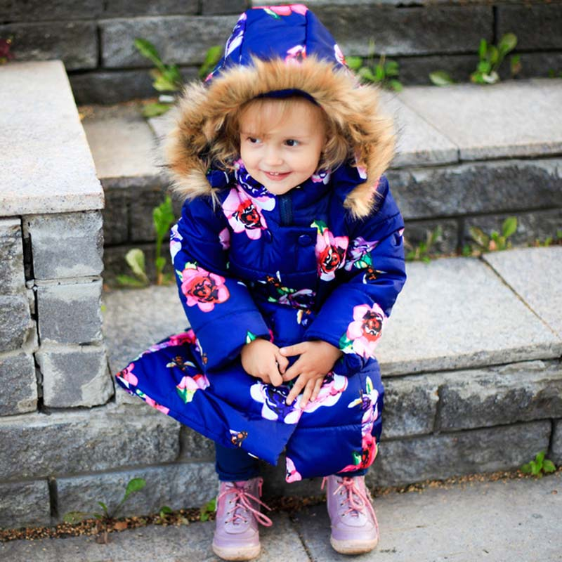 girls winter jacket 5-13 years old girls down long coats Kids fur collar children's parkas hot Flower print hooded outwear warm ethnic style flower print black and white collar long sleeve bomber jacket