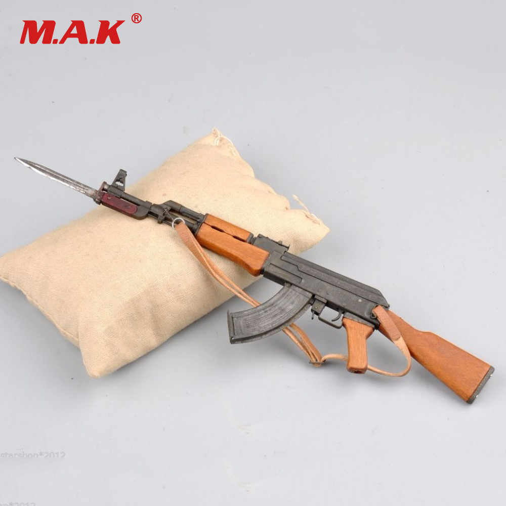 1/6 Scale Soldier Toys Parts Accessory Weapon Toy Metal AK47 Bayonet Model Set With sandbag for 12 inches Military Action Figure 1 6 scale plastics united states assault rifle gun m16a1 military action figure soldier toys parts accessory