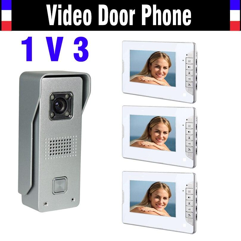 7 Inch Screen Video Doorbell Intercom System Video Door Phone Kit IR Night Vision Waterproof Aluminium