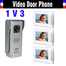7 Inch Screen Video Doorbell Intercom System Video Door Phone Kit  IR Night Vision Waterproof Aluminium alloy Camera 3-Monitor