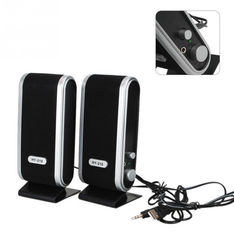 6W USB2.0 Power 3.5Mm Laptop Computer PC Speakers Microphone Headphones Audio Ear Jack HY-218 Portable Multimedia Speaker