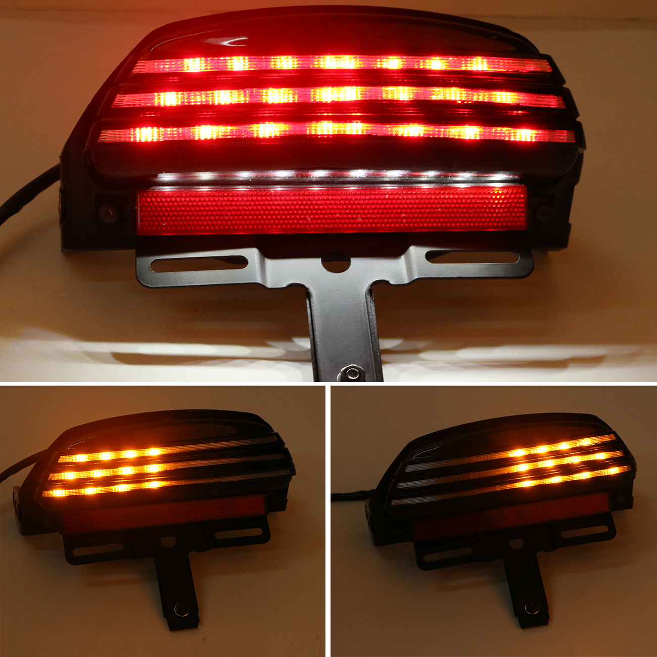 ФОТО Clear LED Rear Turn Signal Taillight with License Plate Bracket For Harley Davidson FXST FXSTB FXSTC FXSTS FLSTSB FXSTSSE #58188