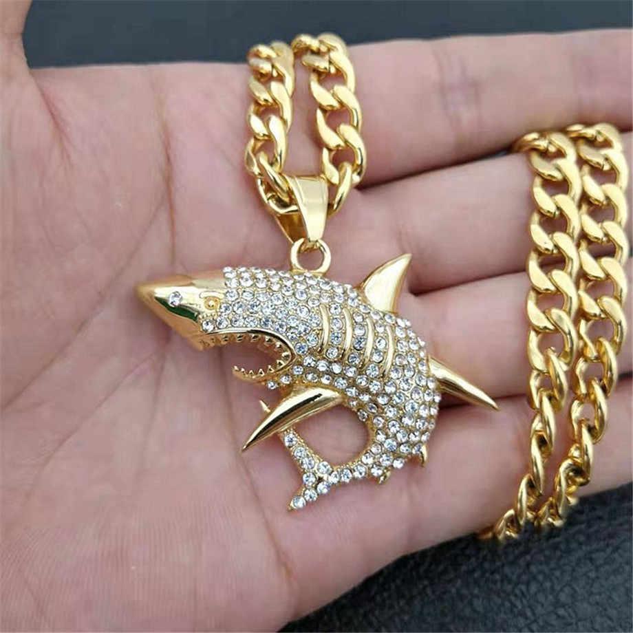 Ze stali nierdzewnej duży rekin wisiorek naszyjnik mężczyzn biżuteria Hip-Hop złoty kolor Iced Out Rhinestone Ocean zwierząt naszyjnik Dropshipping