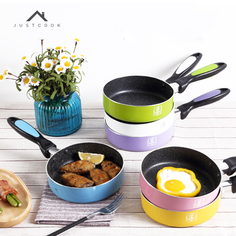 Justcook 16 CM Breakfast Non-stick Frying Pans Eggs Pancake Maker No Oil-smoke Pan General Use for Gas and Induction Cooker