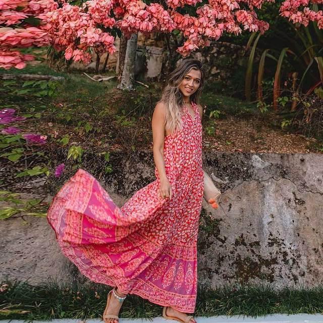 fa8f37e74707 Vintage boho women red coral 2018 Summer Dress Button Up sleeveless Floral  Print Flowy chic Maxi dresses vestidos long beach