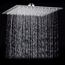 כיכר רחצה נירוסטה גשם מקלחת ראש גשם 12 אינץ אמבטיה מקלחת כרום למעלה מרסס מקלחת גשם בלחץ גבוהה