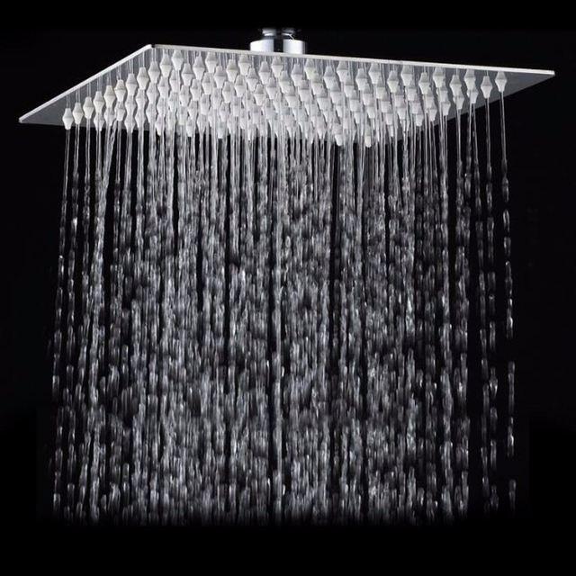 Chuveiro quadrado aço inoxidável chuveiro 12 Polegada, chuveiro quadrado cromado pressão alta pressão chuveiro chuva