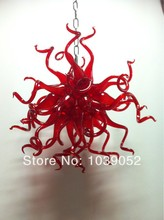 Small Elegant Dining Room Red Blown Glass Modern Chandeliers China