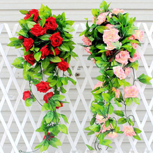 Hot Item Artificial Fake Silk Rose Flower Ivy Vine Hanging Garland Wedding Home Decor