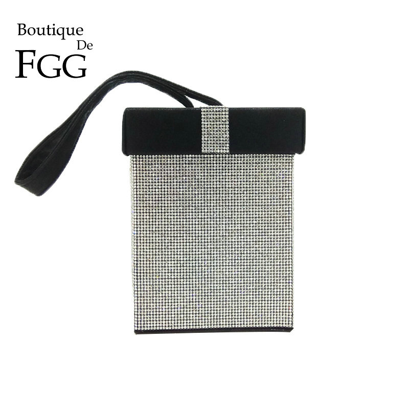 Boutique De FGG Contrast Color Women's Fashion Crystal Day Clutches Handbag Purse Gift Box Evening Wristlets Tote Clutch Bag