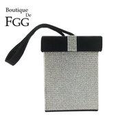 Boutique De FGG Contrast Color Women's Fashion Crystal Day Clutches Handbag Purse Gift Box Evening Wristlets Tote Clutch Bag