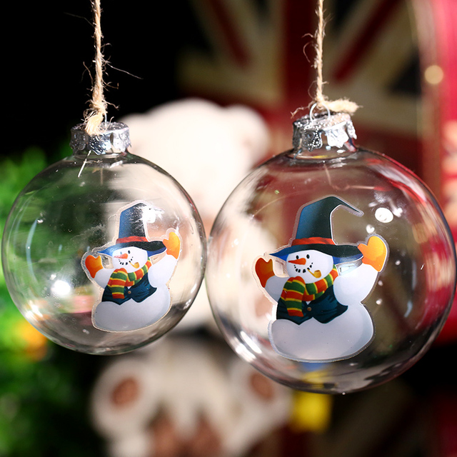 Us 22 5 Clear Glass Ball Christmas Ornament Snowman In Blue Hat Wedding Party Bauble Xmas Tree Decoration Festival Diy Freeship In Ball