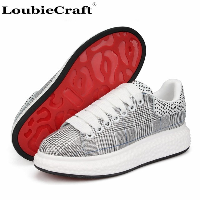 3d1c378a297 LoubieCraft Houndstooth Platform Sneakers Red Bottoms Flats Men s Creepers  Shoes Low top Trainers Casual Shoes Genuine Leather