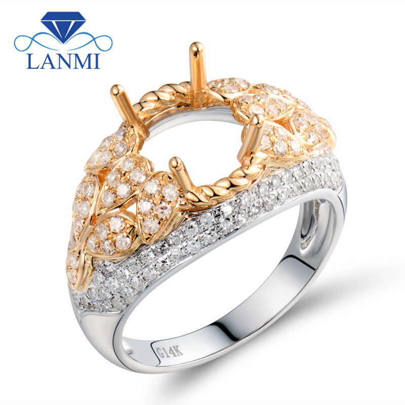Luxury Oval 7.5x9.5mm 14K Two Tone Gold Natural Diamond Customized Wedding Ring WU298