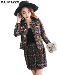 Good Quality Vintage Women's Suits 2019 Newest Runway Knit Cotton Cardigan Tweed Coat Jacket + Mini Short Skirt 2 Pieces Sets XL