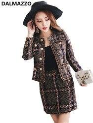 Gute Qualität Vintage frauen Anzüge 2019 Neueste Runway Stricken Baumwolle Strickjacke Tweed Mantel Jacke + Mini Kurzen Rock 2 stück Sets XL