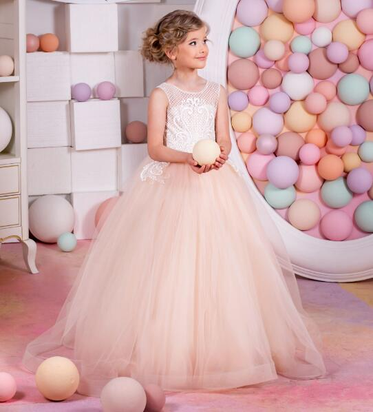New Blush Pink Puffy Tulle Flower Girls Dresses for Wedding Lace Sequins Girls Princess Communion Dress Lango Girls Vestidos