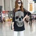 2016 nueva Camiseta de las mujeres del verano del cráneo impreso batwing manga de la vendimia más tamaño camisa casual novedad mujer top señora túnica negro