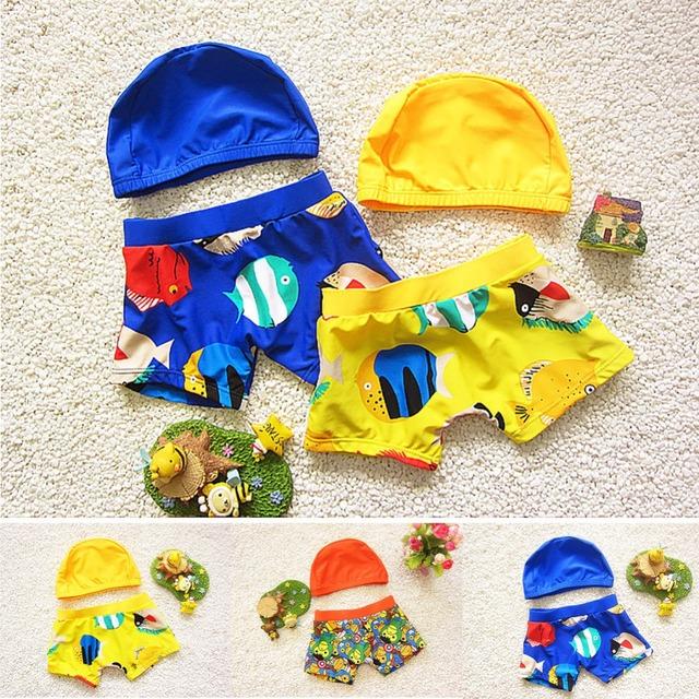 Meninos 2 pçs/set Swimwear Crianças Swimsuit Troncos de Natação + touca de natação Dos Desenhos Animados Do Bebê de Manga curta Meninos Conjunto Maiô Crianças maiô T92