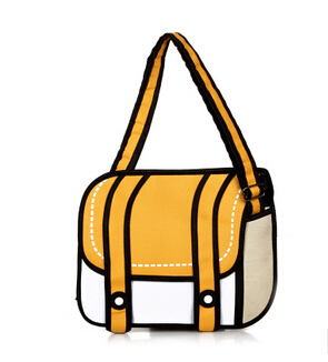 2015 New Fashion 2D Bags Novelty Back To School Bag 3D Drawing Cartoon Comic Handbag Lady Shoulder Bag Messenger 6 Color Gifts