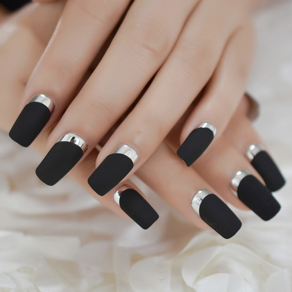 Medium Long Matte Classical Adult Fake Nails French Black Square